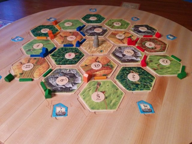 Catan play board with hexes