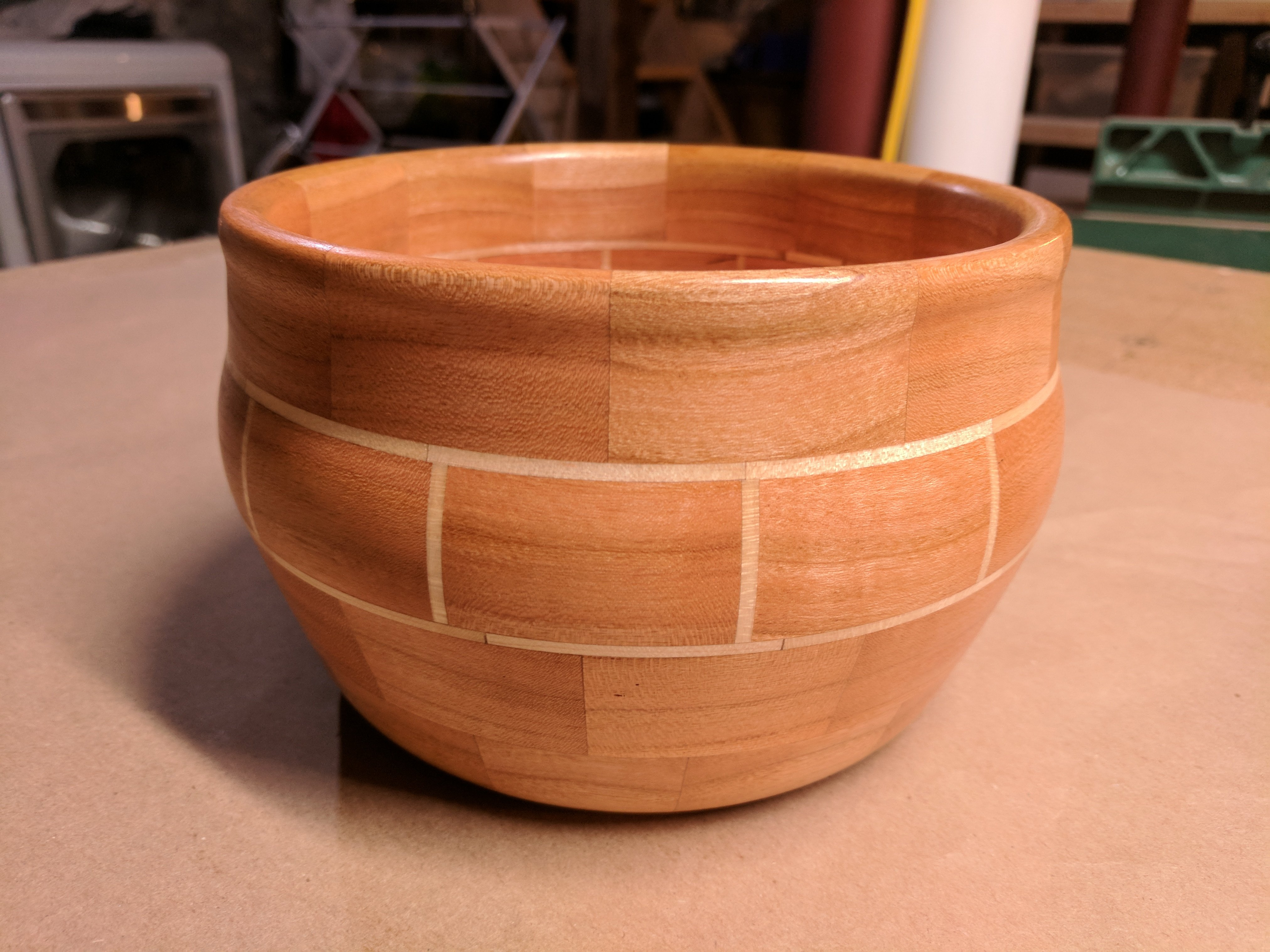 Segmented cherry and maple board