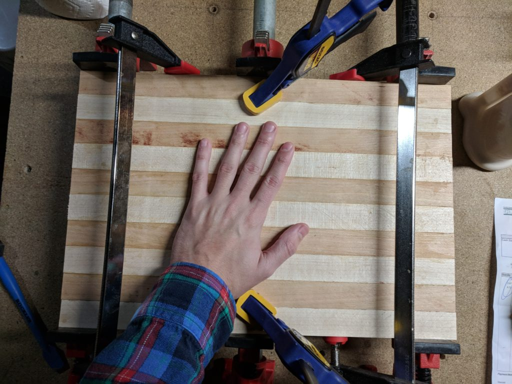 Clamped up striped board