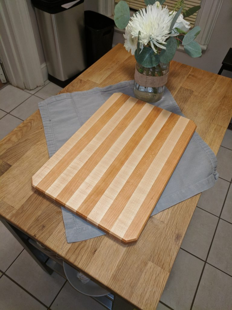 Completed striped cutting board
