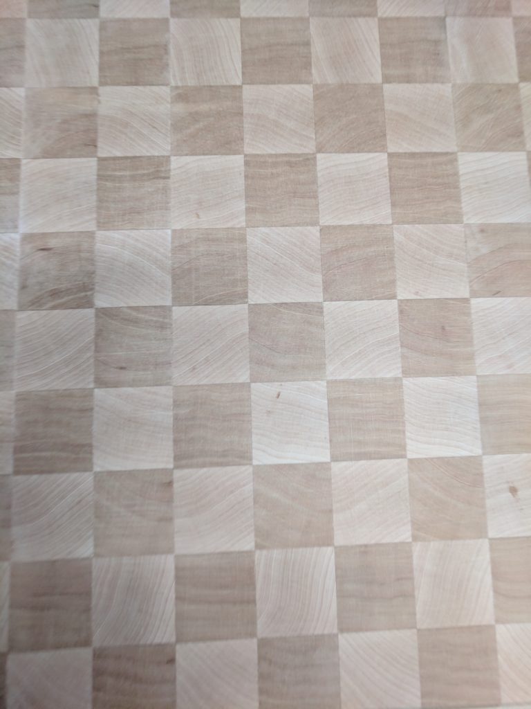 Unfinished checkered surface