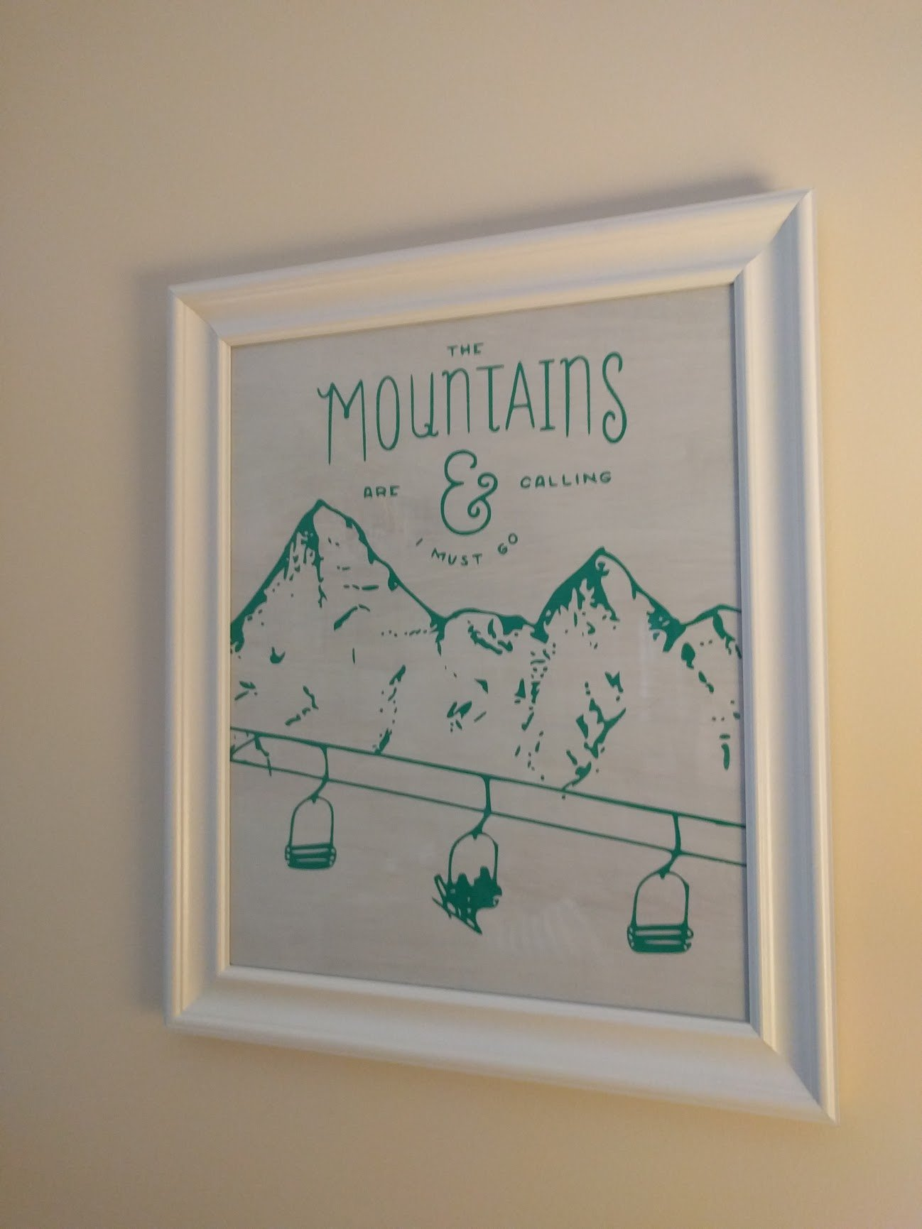 Laser stanciled mountain print on ply