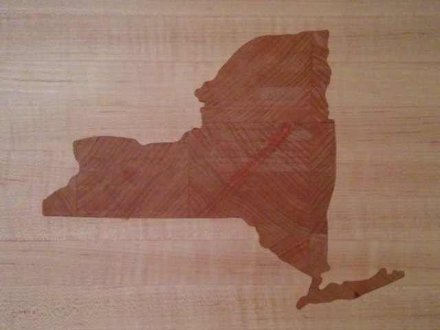 Cherry New York State inlay in maple