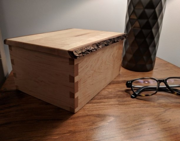 Living edge maple dovetail box, with hand cut dovetails