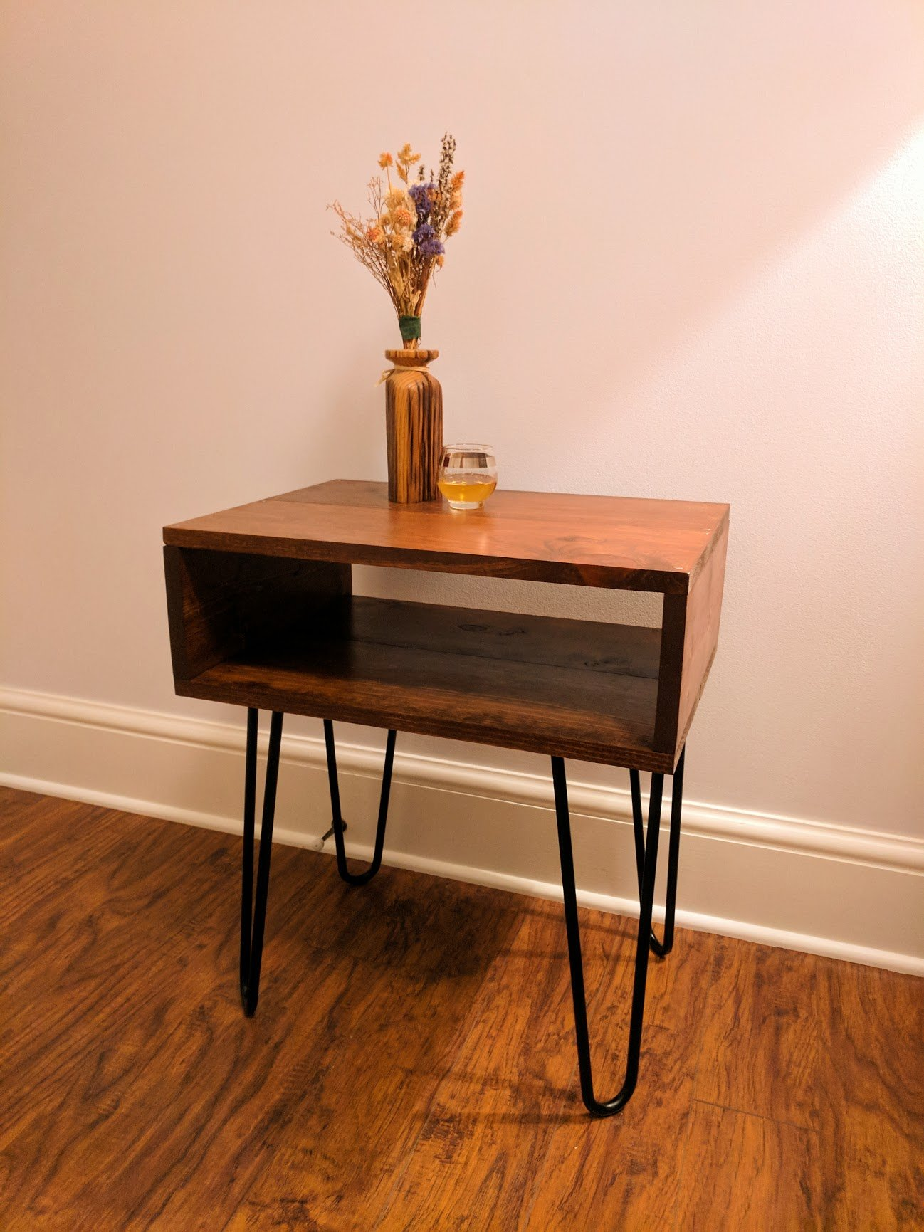 Commissioned stained pine end table with hairpin legs