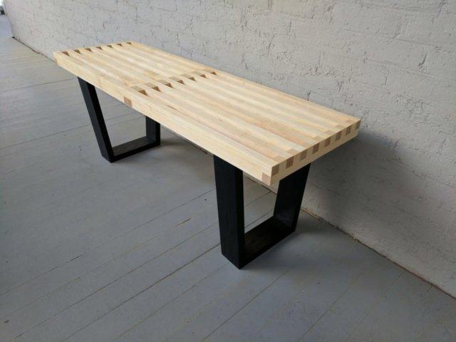 """Nelson"" style platform bench"